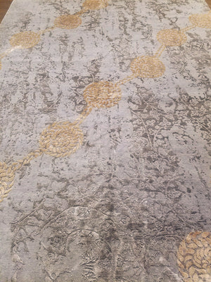 n6199 - Contemporary Abstract Rug (Wool and Silk) - 8' x 10' | OAKRugs by Chelsea wool silk rugs contemporary, handmade modern wool rugs, wool silk area rugs contemporary
