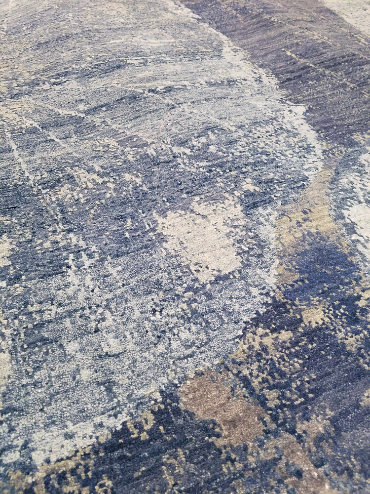 n6201 - Contemporary Abstract Rug (Wool and Silk) - 8' x 10' | OAKRugs by Chelsea wool silk rugs contemporary, handmade modern wool rugs, wool silk area rugs contemporary