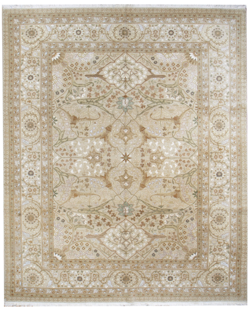 n6223 - Transitional Tabriz Rug (Wool and Silk) - 8' x 9' | OAKRugs by Chelsea affordable wool rugs, handmade wool area rugs, wool and silk rugs contemporary
