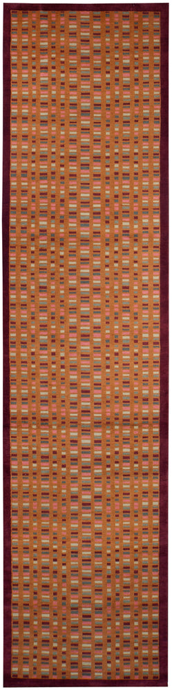 n6234 - Contemporary Block Rug (Wool) - 4' x 16' | OAKRugs by Chelsea inexpensive wool rugs, unique wool rugs, wool rug vintage