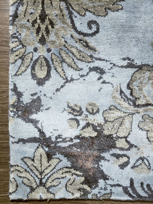 n6239 - Transitional Damask Rug (Wool and Bamboo) - 9' x 12' | OAKRugs by Chelsea wool silk rugs contemporary, handmade modern wool rugs, wool silk area rugs contemporary