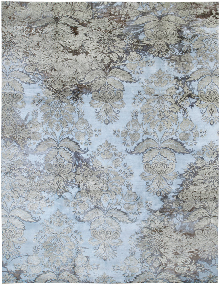 n6239 - Transitional Damask Rug (Wool and Bamboo) - 9' x 12' | OAKRugs by Chelsea inexpensive wool rugs, unique wool rugs, wool rug vintage