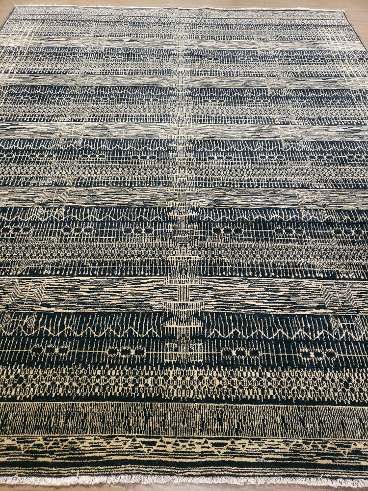 n6079 - Transitional Nandini Rug (Wool) - 8' x 10' | OAKRugs by Chelsea wool silk rugs contemporary, handmade modern wool rugs, wool silk area rugs contemporary