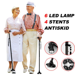 Anti-skid Walking Cane with LED Flashlight