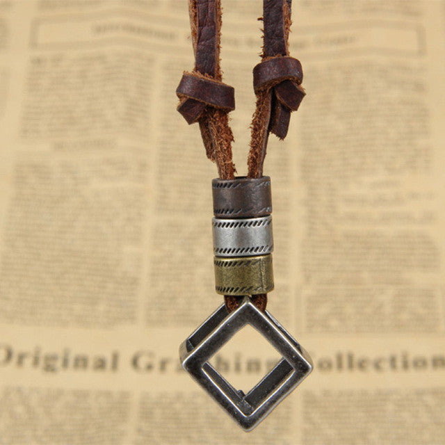Vintage Cube Adjustable Leather Necklace - Shop Moduos- Men's Accessories, Bracelets, rings, necklaces, key stubs, tie clips, fashion, style , mens fashion, mens style, mens accessories, expensive look, affordable price, swagger, moduos, shop moduos, moduos accessories, moduos style, expertly selected, nice bracelet, bead bracelet, charm bracelet, hipster bracelet, hipster beads, bead bracelet, stretchy bracelet, stylish bracelet, mens bracelet, mens watches, wrist game, mens ring, fancy ring, fancy bracelet, rich look, giveaway, instagram style, hot style, sexy style, how to look good, look attractive, attractive style, women, bling, chains