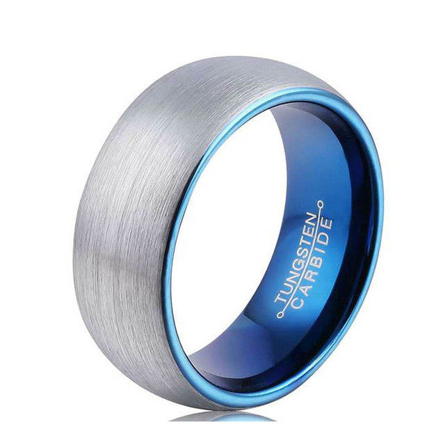 Blue Tungsten Lined Silver Ring - Shop Moduos- Men's Accessories, Bracelets, rings, necklaces, key stubs, tie clips, fashion, style , mens fashion, mens style, mens accessories, expensive look, affordable price, swagger, moduos, shop moduos, moduos accessories, moduos style, expertly selected, nice bracelet, bead bracelet, charm bracelet, hipster bracelet, hipster beads, bead bracelet, stretchy bracelet, stylish bracelet, mens bracelet, mens watches, wrist game, mens ring, fancy ring, fancy bracelet, rich look, giveaway, instagram style, hot style, sexy style, how to look good, look attractive, attractive style, women, bling, chains