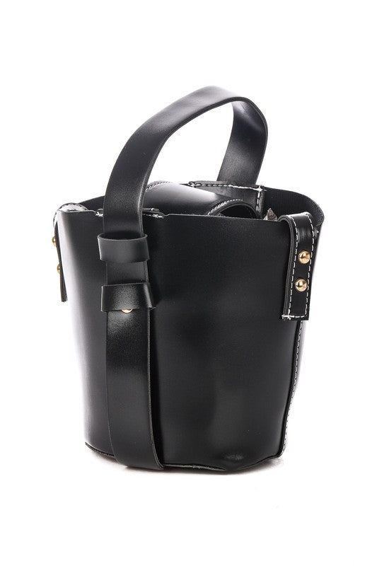 Black Faux Leather Bucket Bag