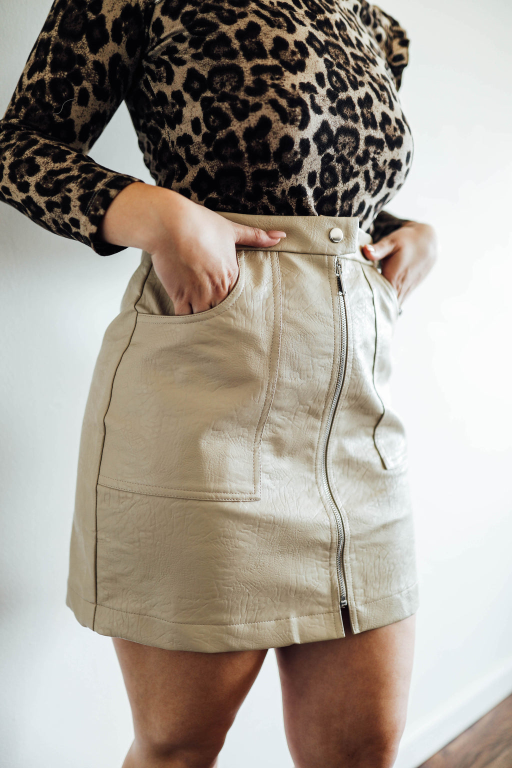 Mila Tan Leather Zip Up Skirt