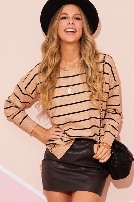 Debbie Oatmeal Striped Long Sleeve