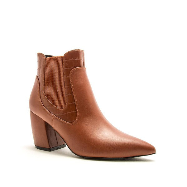 Ramona Cognac Alligator Ankle Boots