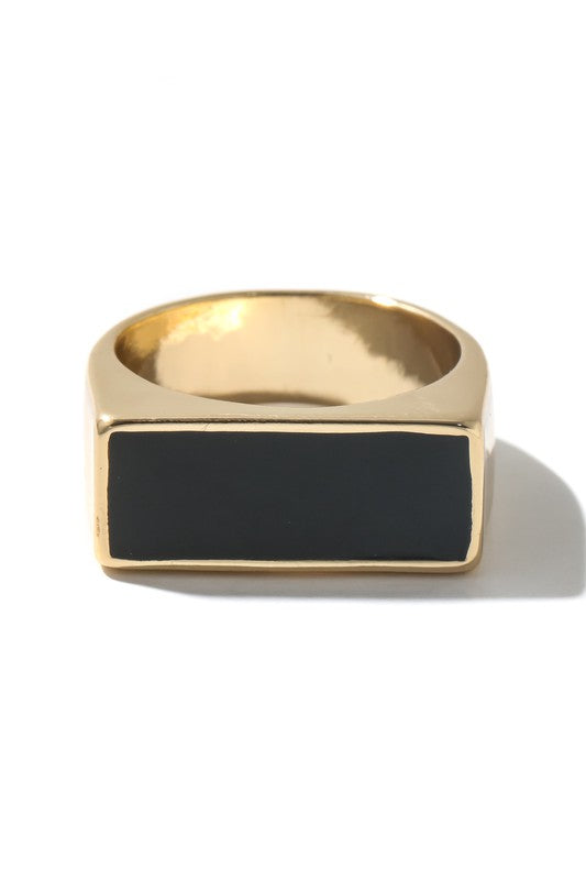 Black and Gold Block Ring