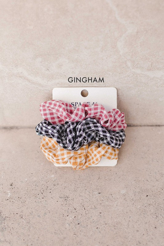 Gingham 3 Pack Scrunchie Collection