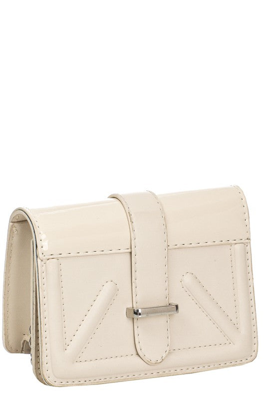 Ivory Faux Leather Clutch Bag