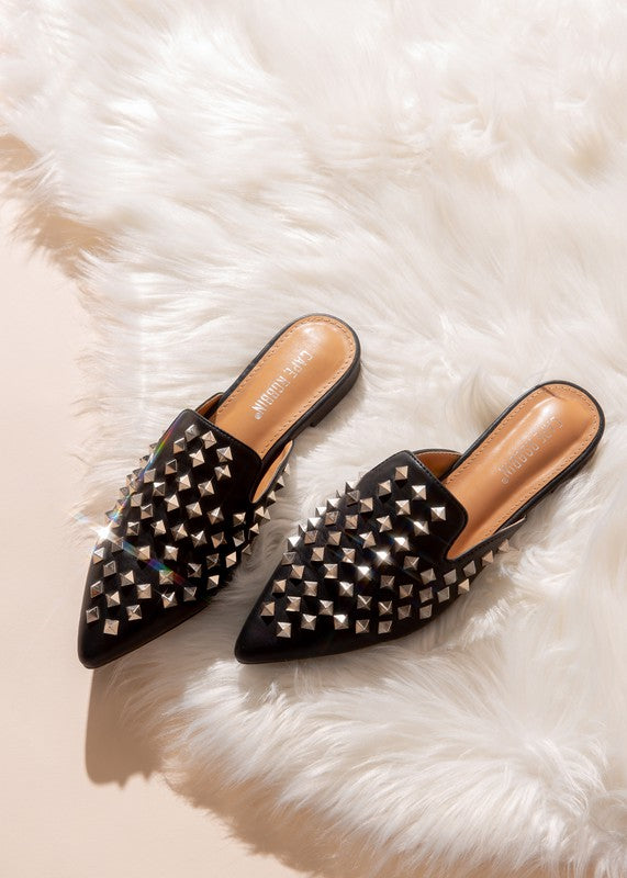 Camryn Black Studded Pointy Toed Slides