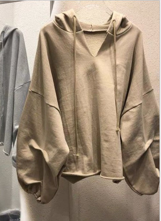Delilah Camel Oversized Bubble Sleeve V-Neck Hoodie