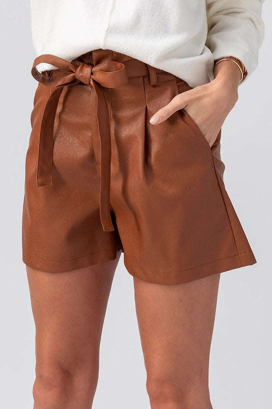 Kyle Camel Faux Leather Shorts