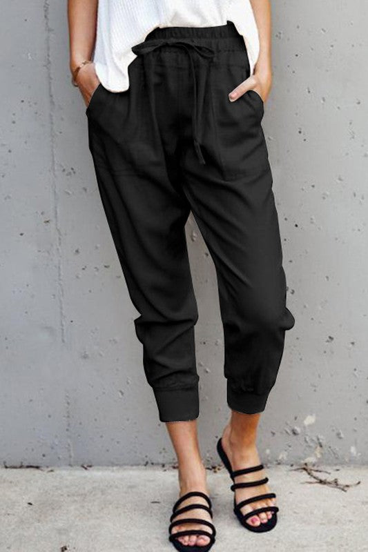 Mia Black Casual Fit Drawstring Pants