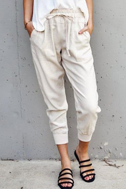 Mia Cream Casual Fit Drawstring Pants