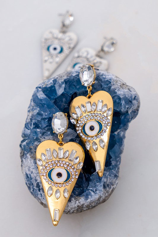 Heart Shape Evil Eye Earring