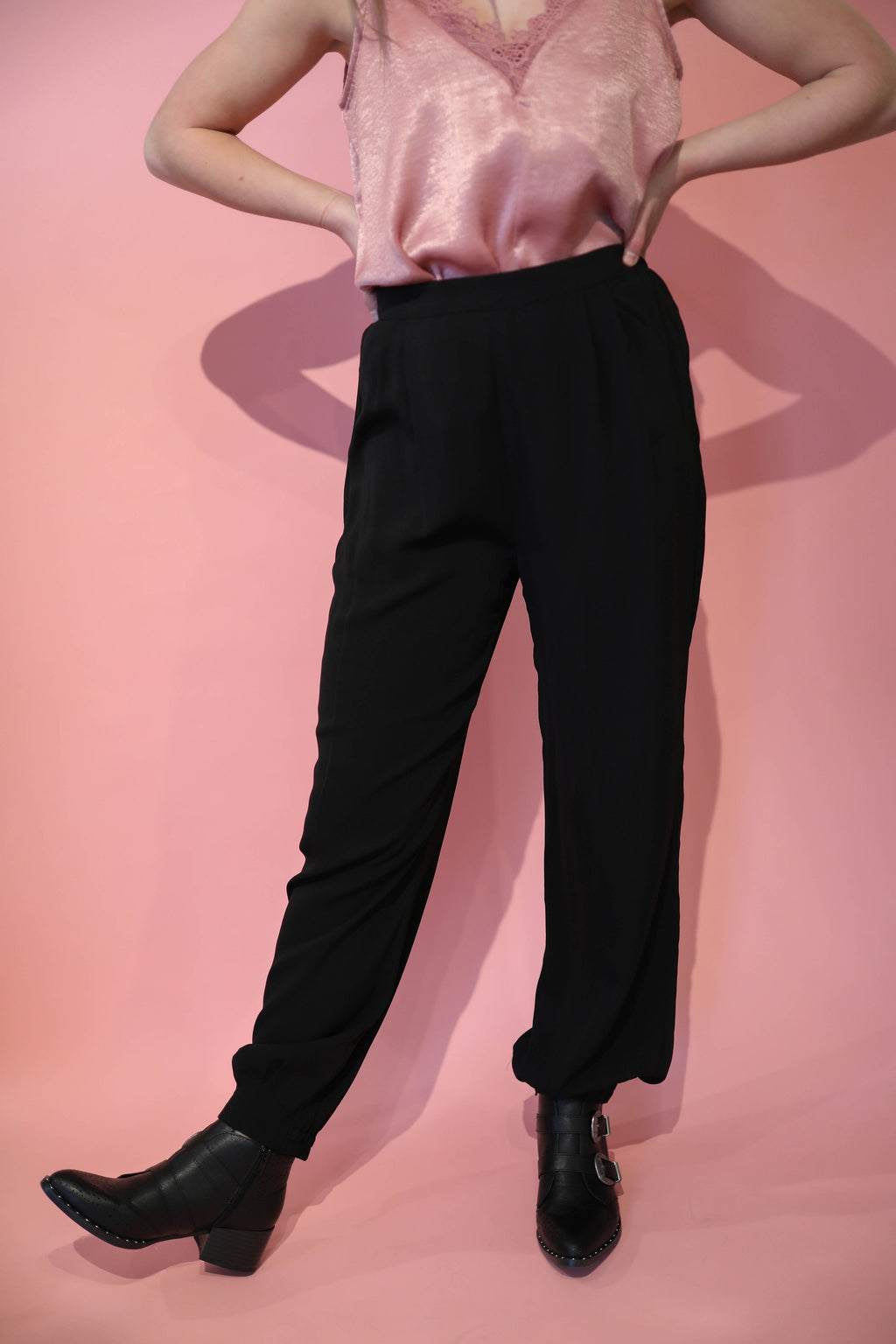 Joy Black High Waist Harem Pants