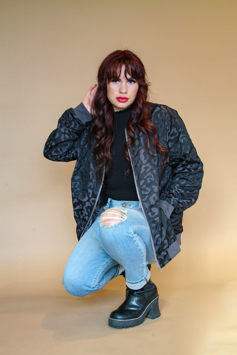 Laura Black on Black Leopard Bomber Jacket