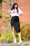 Ashley Black Ribbed Buttoned Skirt