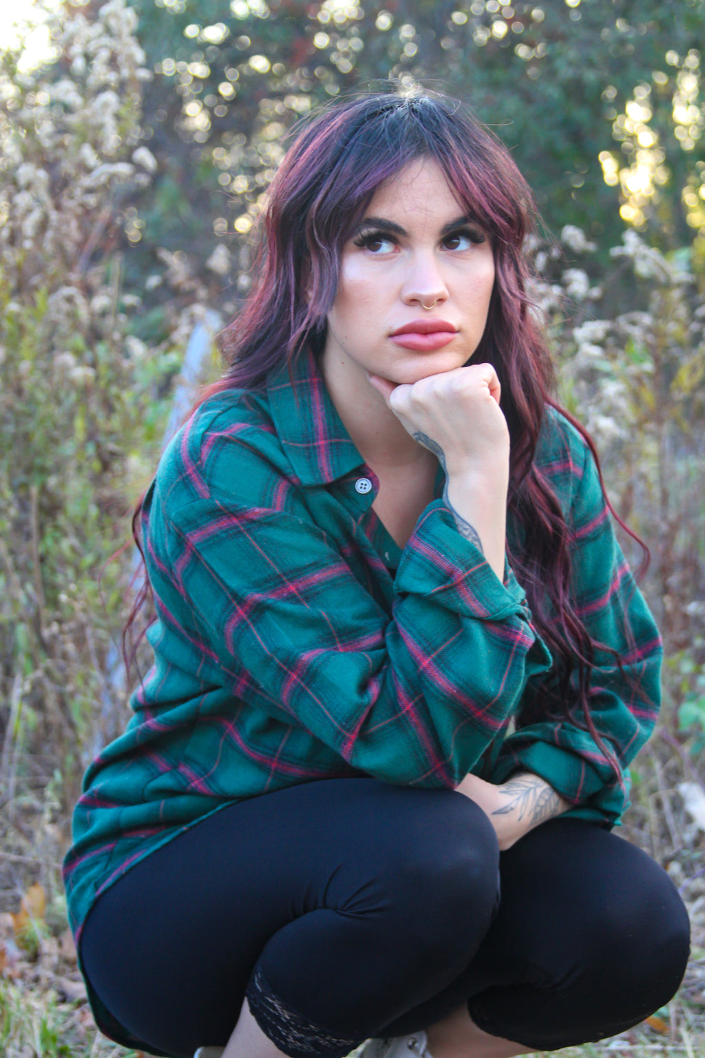 Erin Hunter Green Plaid Shirt
