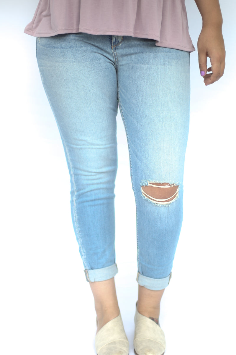 Holy Grail Light Wash Distressed Denim