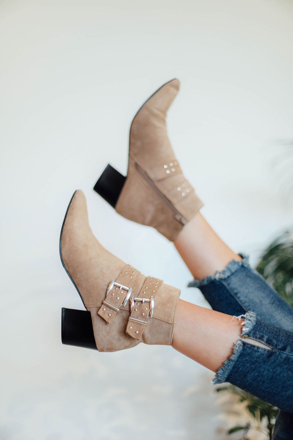 Elvira Taupe Stud Buckled Booties