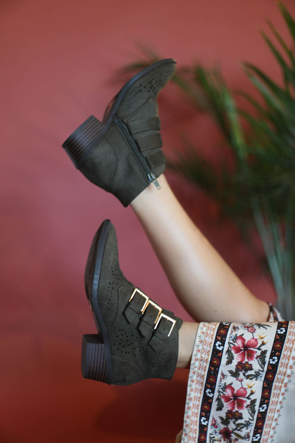 Angela Olive 3 Buckle Booties