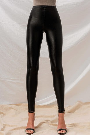 Sandy Black Faux Leather Leggings