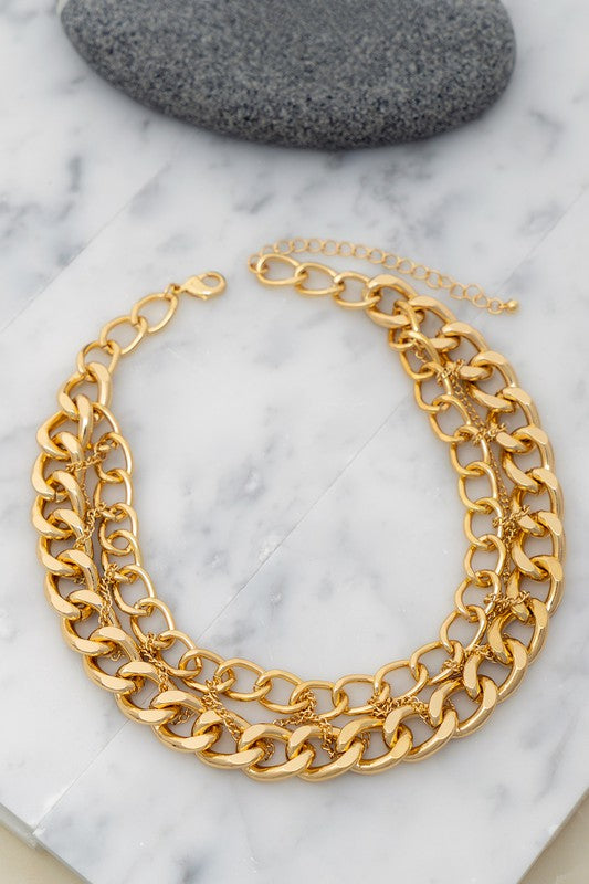 Gold Multi Braided Chain Necklace