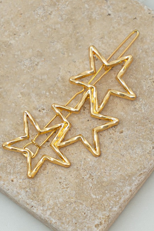 Gold Three Star Hair Clip