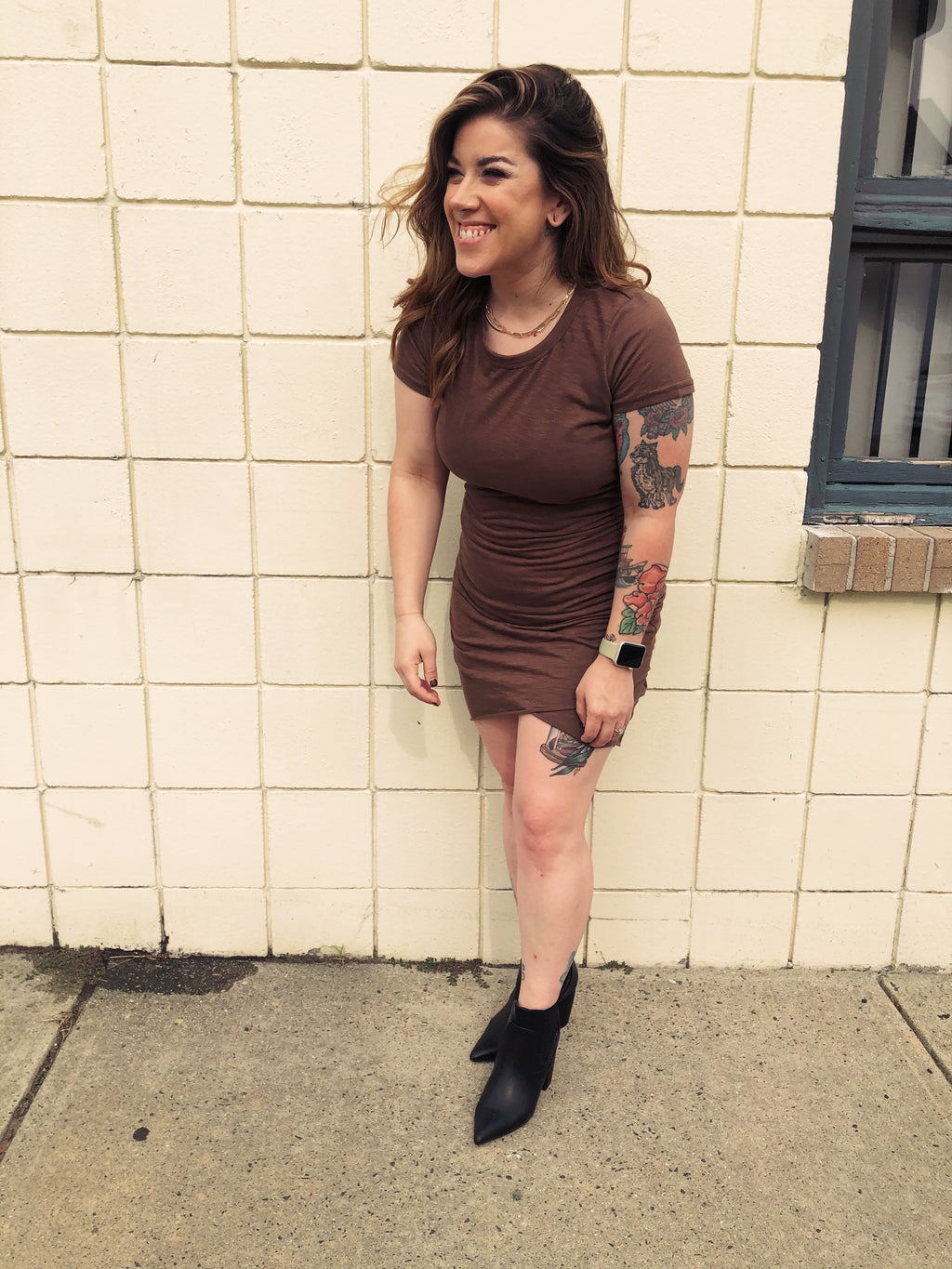 Mary Mocha Short Sleeve Mini Dress w/ Gathering