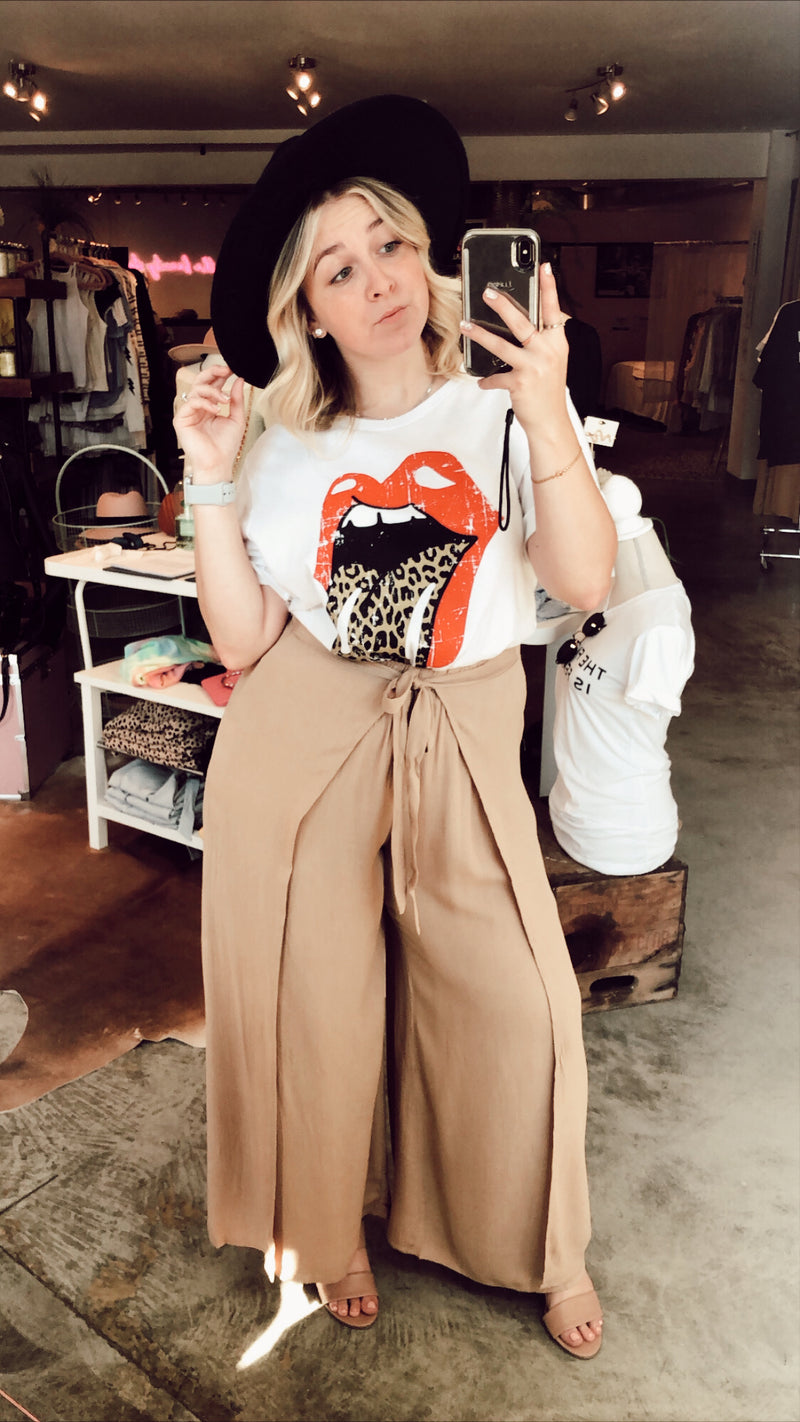 Tia Taupe Front Tie Culotte Pants