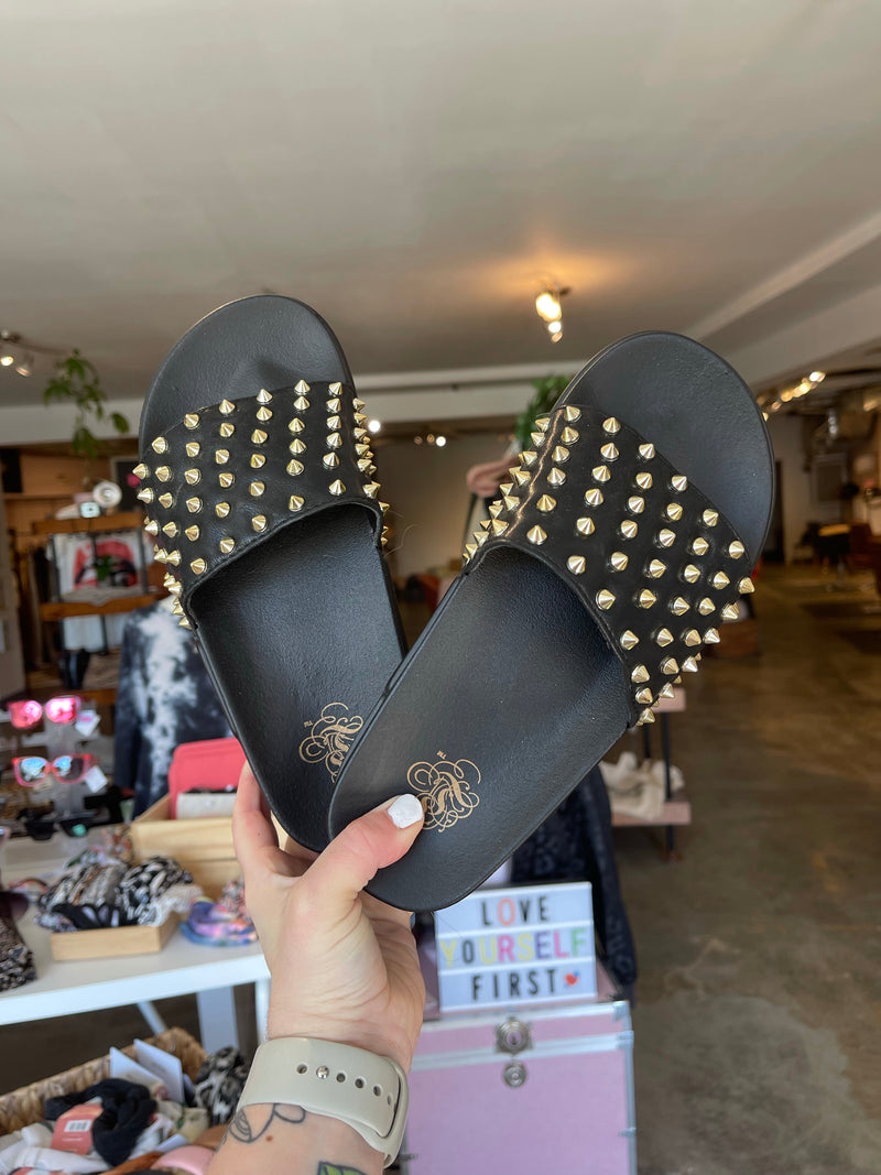 Black Studded Slides