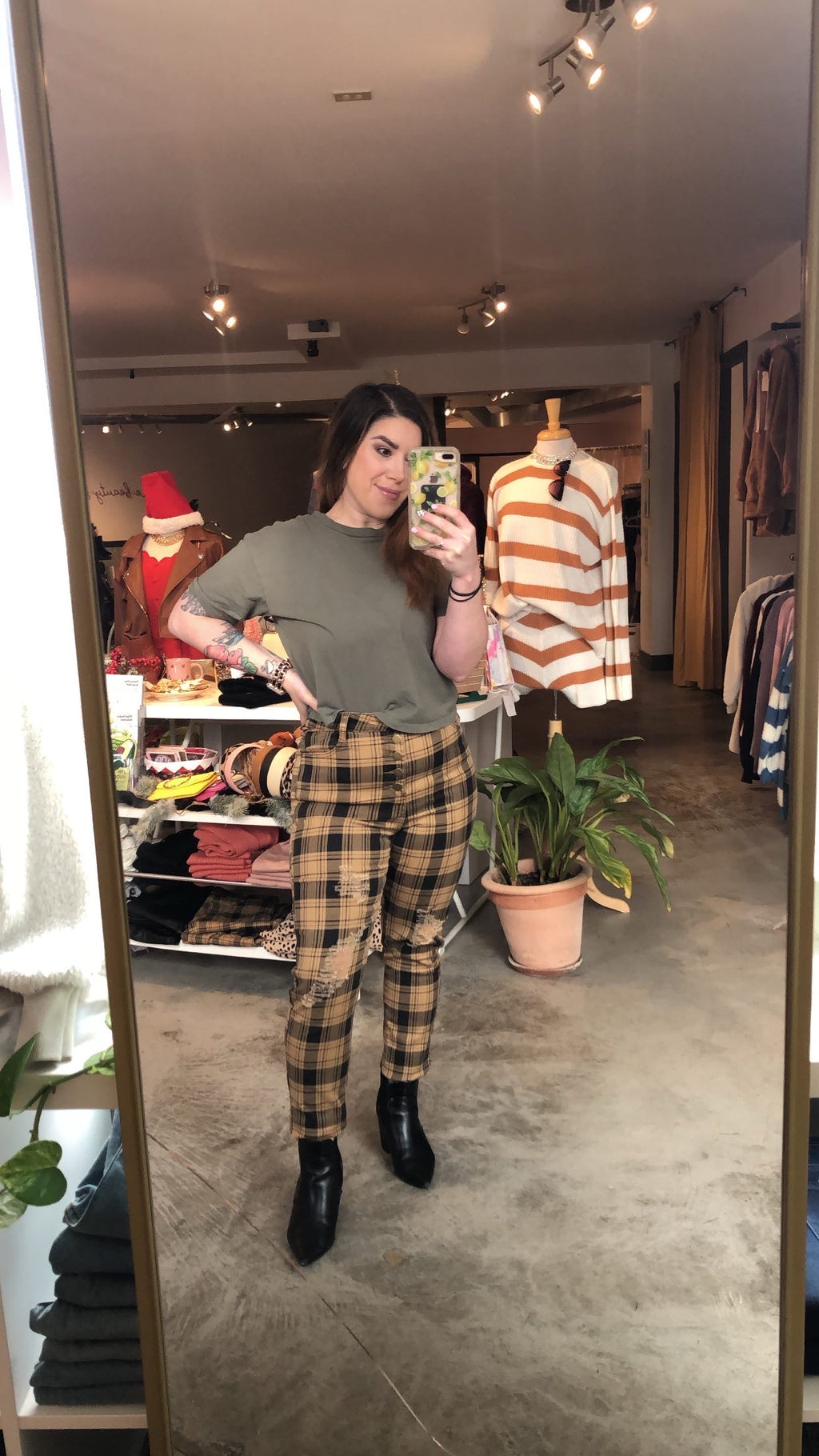 Cher Retro Mustard Plaid Pants