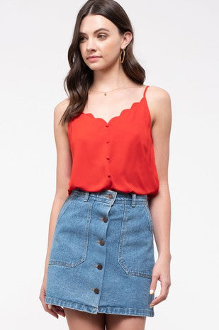 Marie Red Scalloped Tank Top