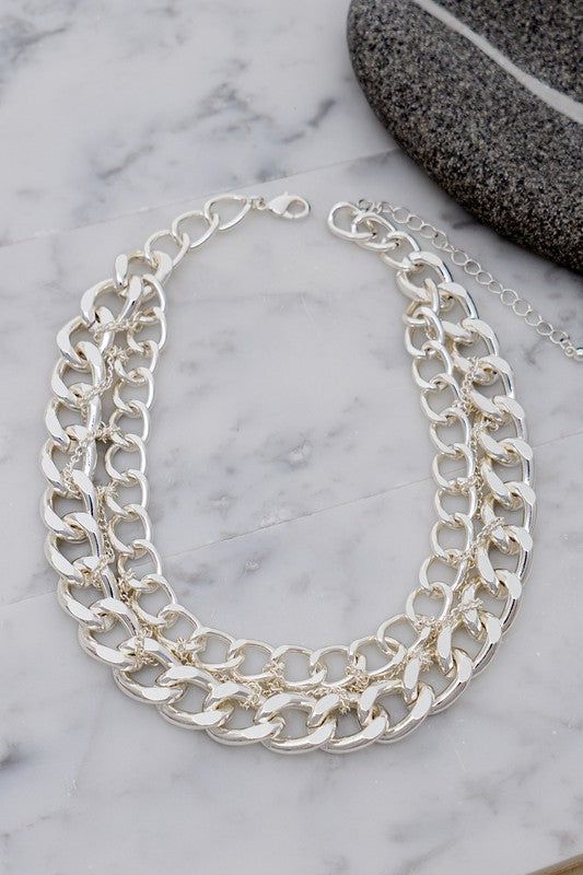 Silver Multi Braided Chain Necklace