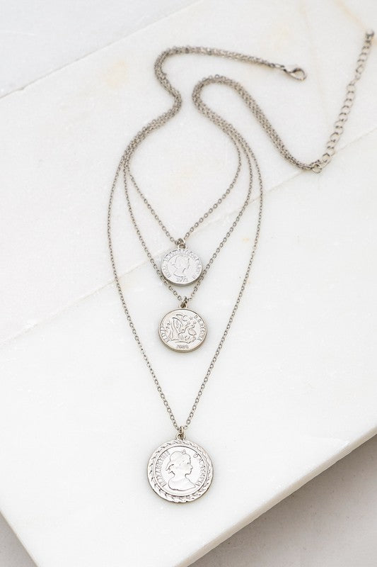 Silver Three Layered Coin Necklace