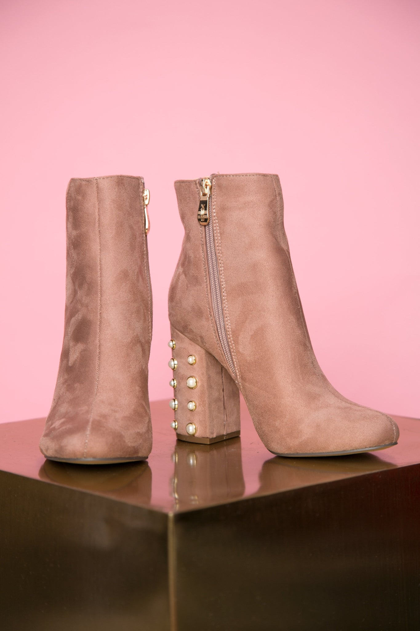 Blush pearl booties
