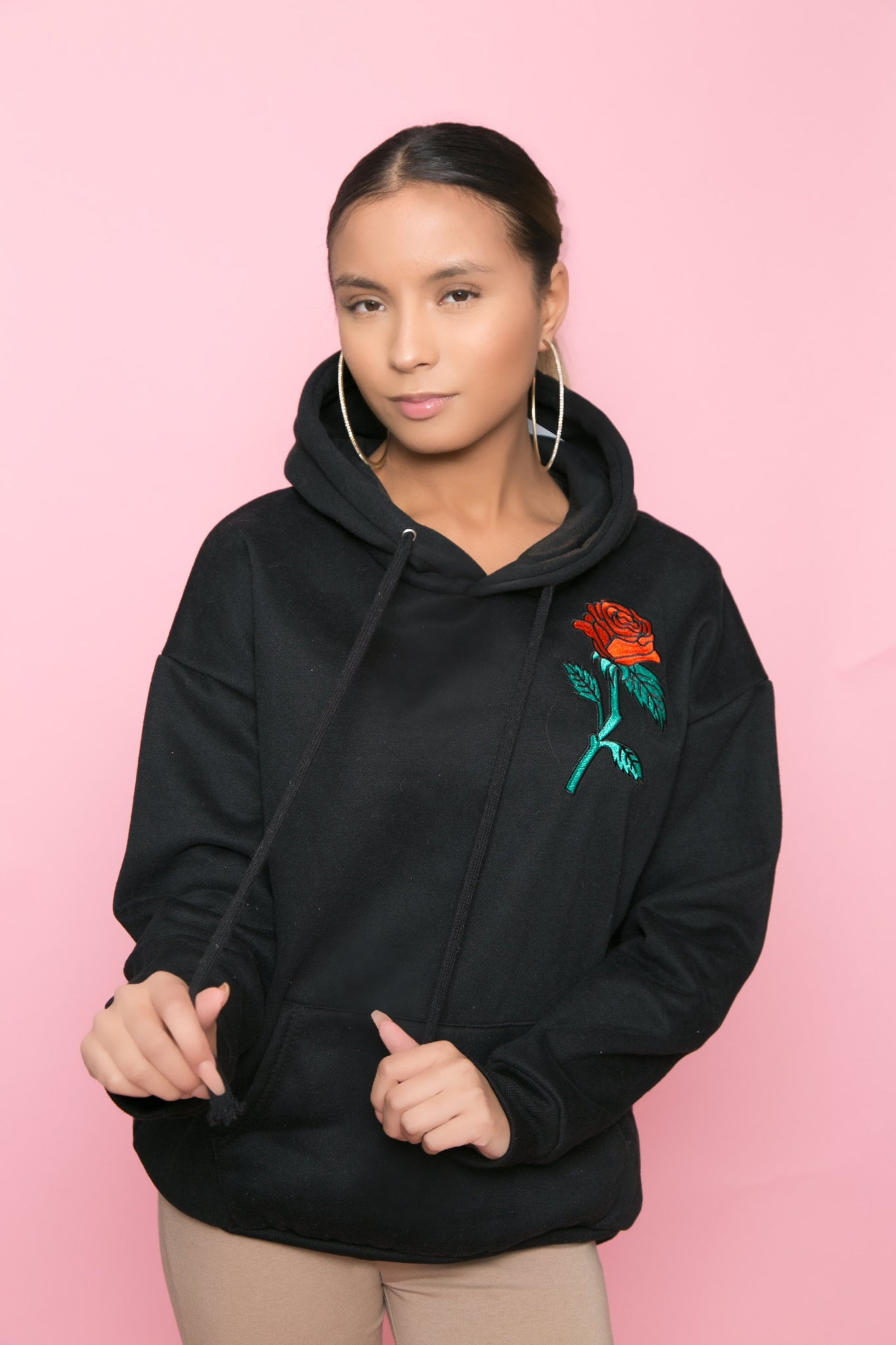 Black Embroidered  Rose Hoodie