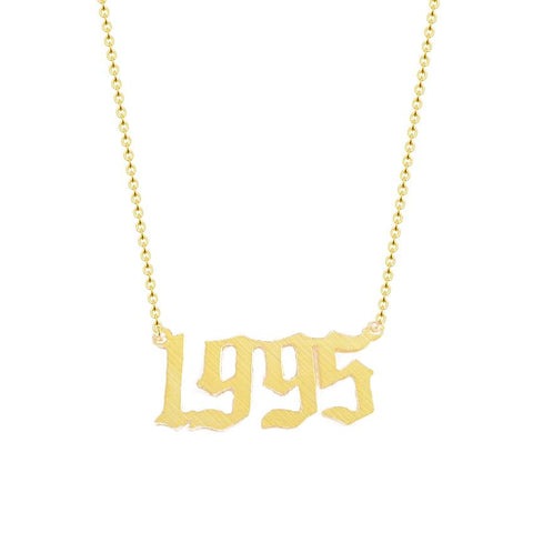 Custom  Personalized Old English Number Necklace