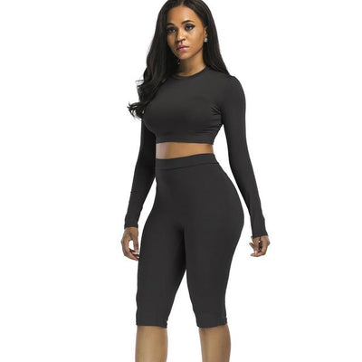 Long Sleeve Crop Tops and High Waist Knee Length Pants Casual Fitness