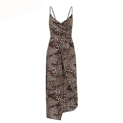 Spaghetti strap leopard print women dress