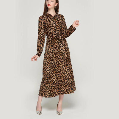 Leopard print ankle length dress