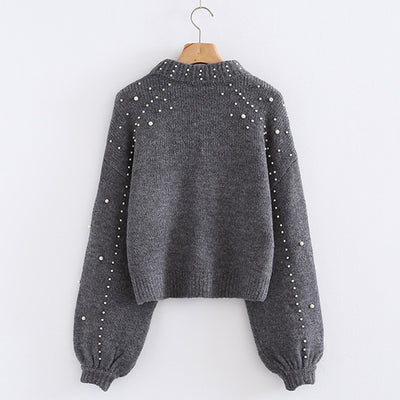 Turtleneck Sweaters Pearl Beading
