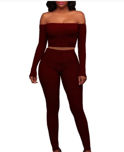 Women long sleeve crop top full pants 2 piece set for
