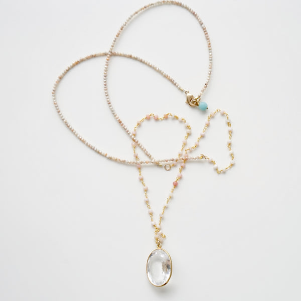 Triple Layer Moonstone & Crystal Necklace
