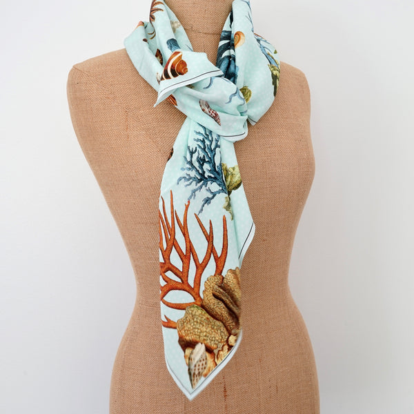 Carson and Co Blue Coral Silk Scarf